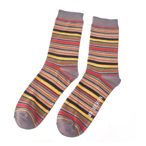 MENS STRIPE SOCKS GREY